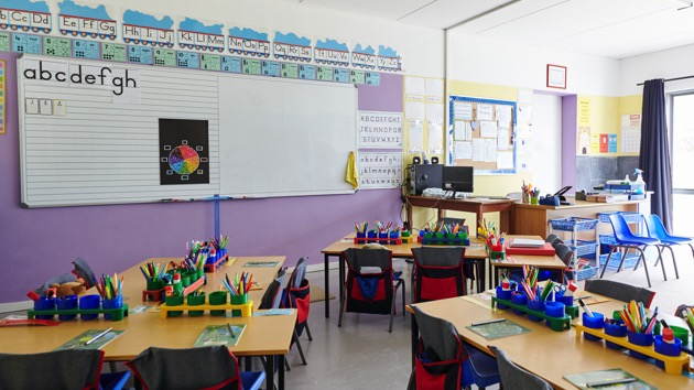 Empty Classroom In Elementary School With Whiteboard And Desks